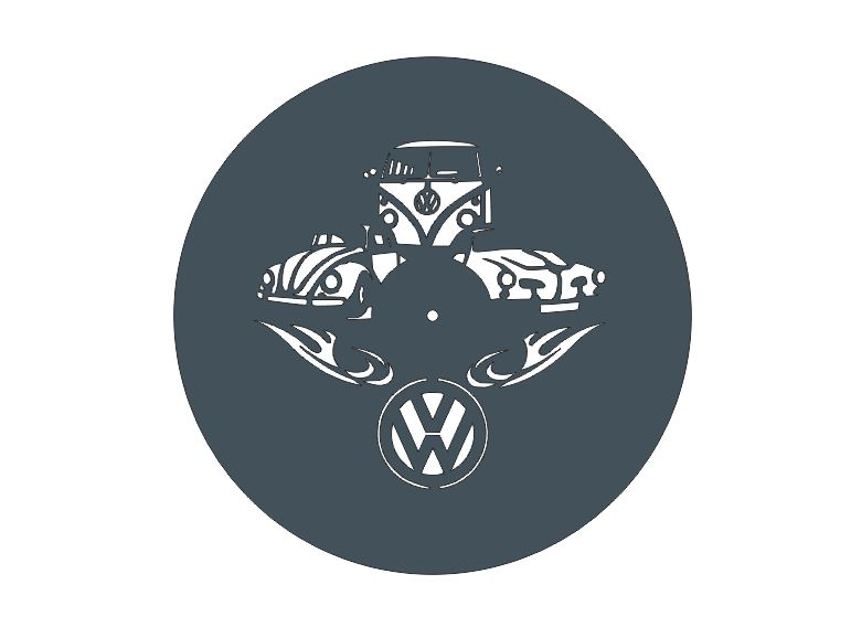 Vw Wall Clock Laser Cut Vinyl Free DXF File